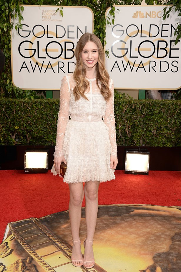 Taissa Farmiga wearing Elie Saab at the 2014 Golden Globes