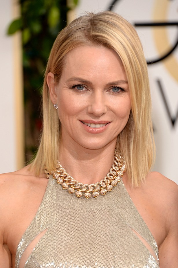 <strong>NUDE HUE<BR></strong> Naomi Watts' amazing gold sheath dress called for a nude lip, and little else!