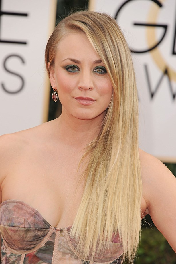 <strong>SLEEK HAIR<BR></strong> Newly married Kaley Cuoco's hair was pin-straight and swept over one shoulder on the Golden Globes red carpet.
