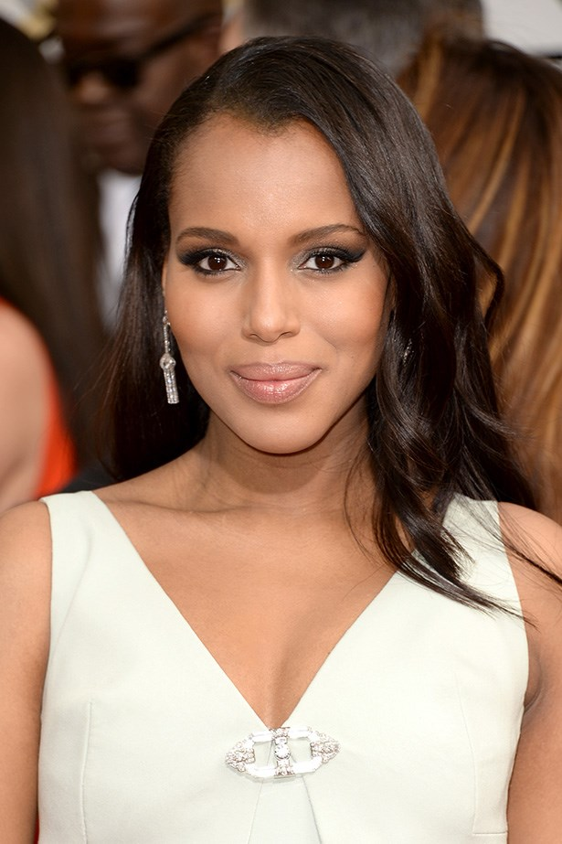 <strong>NUDE HUE<BR></strong> Nominee and mother-to-be, Kerry Washington balanced her smoky eye makeup with a glossy nude lip.