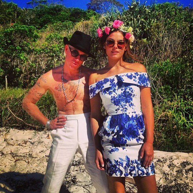 """<strong>@bambilegit</strong><br> """"HANG OVER DRANKIN BEACH PARTY !! WHAT A BEAUTIFUL BUNCH OF PEOPLE,"""" a Valentino-clad Northwood-Blyth wrote alongside a snap of herself and her shirtless husband the day after the wedding."""