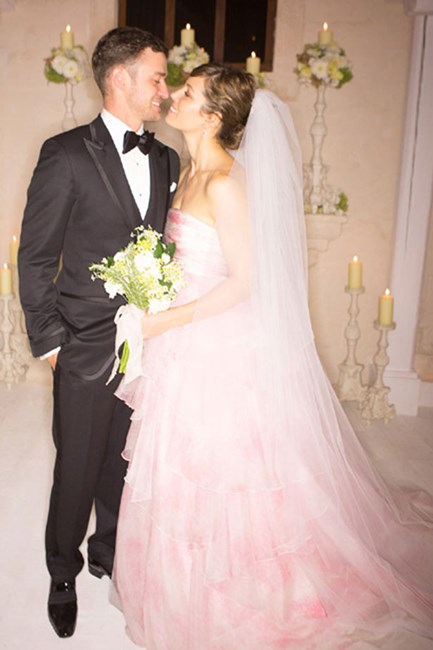 "Jessica Biel It felt like Jess's 2012 wedding to Justin Timberlake was a long time coming, so she had plenty of time to decide on her gown. Her choice: a blush-coloured Giambattista Valli creation. ""I wanted the dress to be very romantic and feminine and a shape that I very rarely wear,"" she said. ""I have never been crazy about all-white wedding dresses, for me at least."""