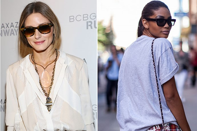 <p>Ladies with a <strong>long face</strong> suit square or rectangular shapes.</p> <p>Work your high cheekbones and strong jawline (à la Olivia Palermo) as your strong features can carry the geometric shapes well. Colour wise, opt for jewel tones and tortoise shell.</p>