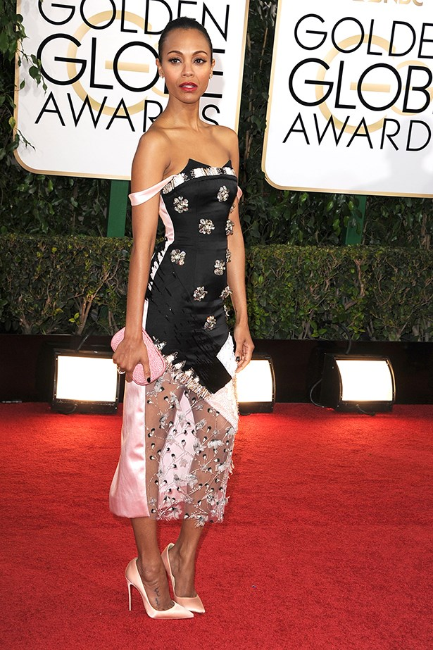 <p><strong>Best bold shoulder </strong></p> <p>Zoe Saldana in Prabal Gurung. Slung off Saldana's incredible figure, the straps of her Gurung ensemble added just the right amount of drama.</p>
