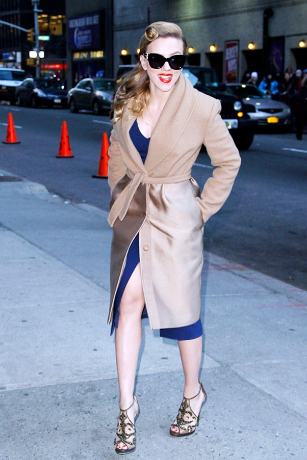 Scarlett Johansson before her appearance on <em>The Late Show With David Letterman</em> on January 8th.