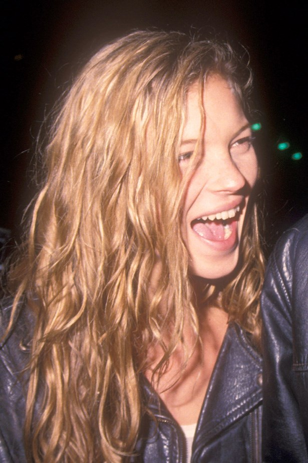 Out on the town back in 1989 with then-beau Johnny Depp, Moss wore her signature hairstyle; 'just out of bed'.