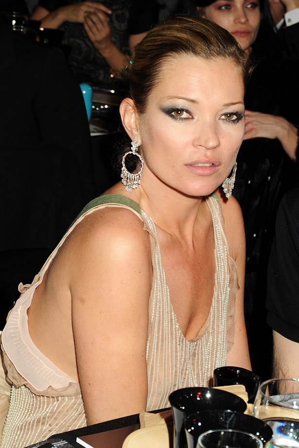 Sexy bomb-Moss wore smoky charcoal eye makeup to the 2010 Love Ball in London.