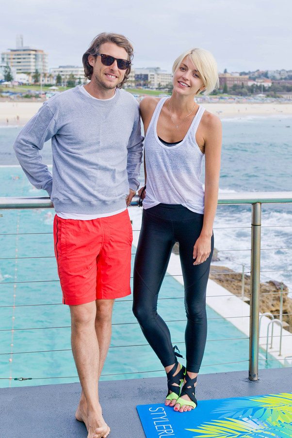 Nick Tobias and model Lucy Taffs at Stylerunner's Nike launch in Bondi
