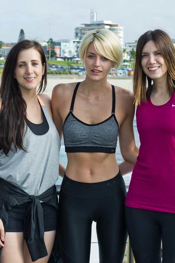 Stylerunner co-founders Julie and Sali with model Luci Taffs at the brand's Nike launch