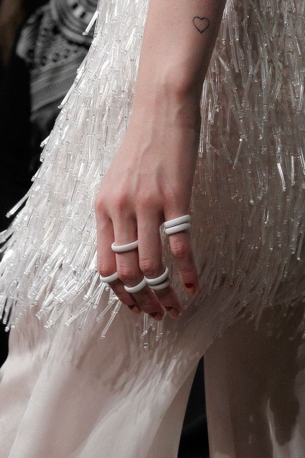 <P><strong>R is for rings</strong></p> <p>Delicate rings have had the upper hand over statement cocktail pieces for a few seasons now, so much so that it can be hard to spot a fashionista with less than five or six stacked bands. Mila Schon proved the trend was still going strong by sending out heavily stacked bands. </p> <p>Look by Mila Schon</p>