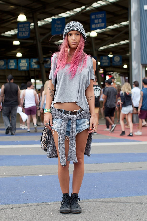 <p>Name: <strong>Brigetta </strong></p> <p>Where: Melbourne Show Ground, Flemington </p> <p>Wearing: American Apparel beanie, Asos T-shirt, One Teaspoon shorts, vintage belt and Converse shoes.</P> <p>Photographer: Elizabeth McLeish</p>