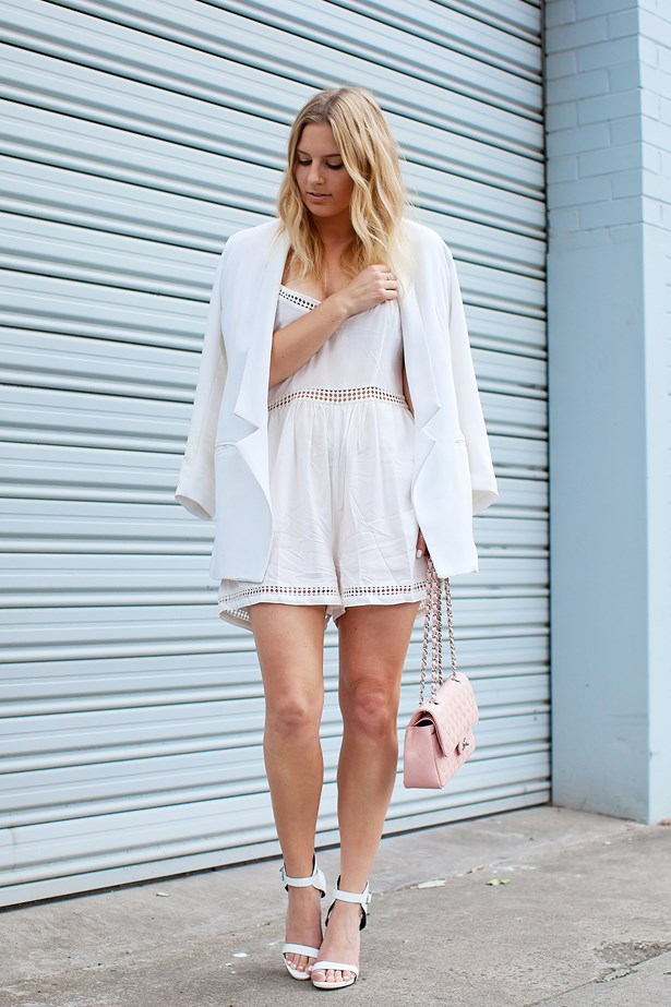 <p>Name: <strong>Lisa</strong></p> <p>Where: Fitzroy, Melbourne</p> <p>Wearing: Bec and Bridge blazer, Tiger Mist playsuit, Chanel bag, RMK heels and Sarah and Sebastian rings.</p> <p>Photographer: Elizabeth McLeish</p>