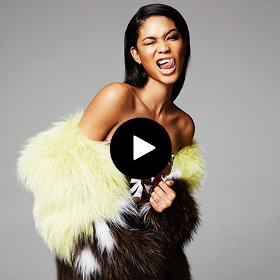 Chanel Iman on set with ELLE