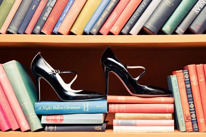 """Look familiar? This pair of patent black heels was inspired by the rare Manolo Blahnik Mary Janes Carrie Bradshaw calls """"an urban shoe myth"""" in <em>SATC</em>. <br><em>Images courtesy of The Coveteur</em>"""