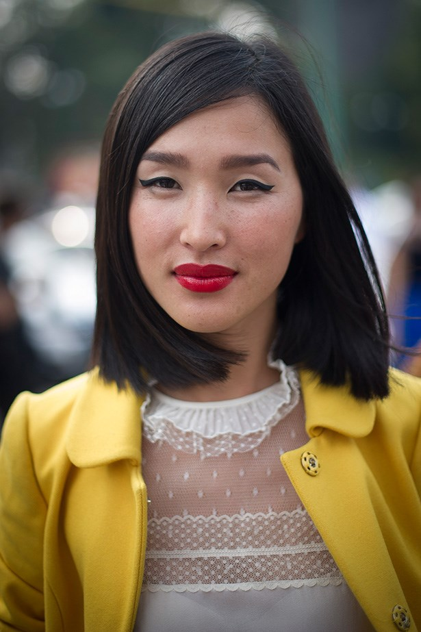Fashion blogger and jetsetter Nicole Warne (better known as Gary Pepper Girl) knows a thing or two about a red lip and winged eyeliner.