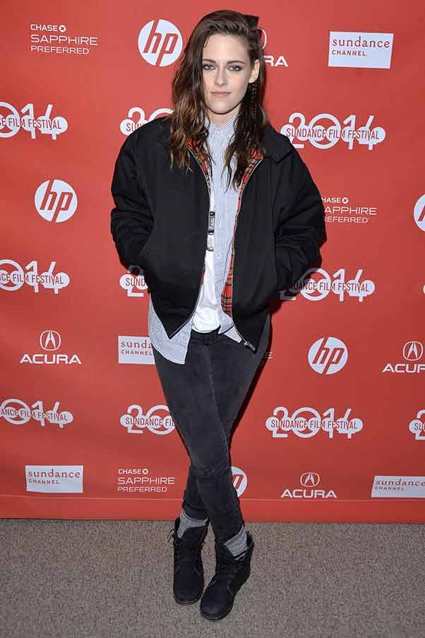 Kristen Stewart is a grungy delight, showing off a side-part and sensible boots at the 'Camp X-Ray' première.