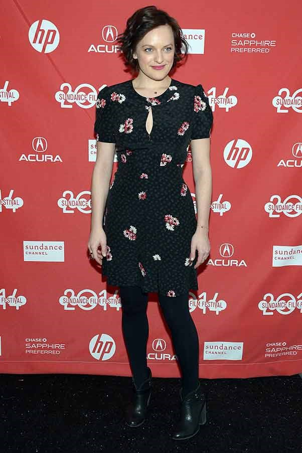 "Indie darling Elizabeth Moss could have stepped straight out of GIRLS in this floral dress, she's attending ""The One I Love"" Première"