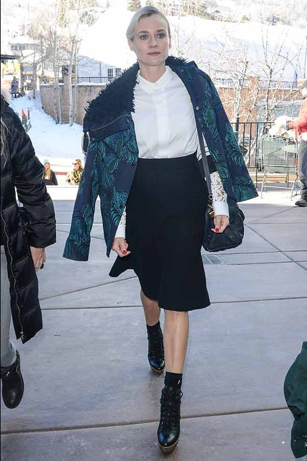 Style queen Diane Kruger could be attending Paris Fashion Week in this ensemble, but instead she's wandering the streets of Park City, Utah
