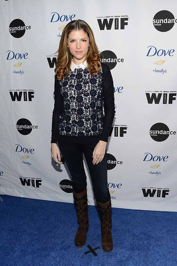 Diminutive triple threat Anna Kendrick wears a white collar shirt and lace jumper to the Women At Sundance brunch.