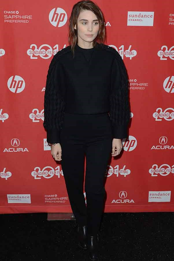 "Newly engaged Rooney Mara pairs minimal makeup with a structural black sweater at ""The One I Love"" première"