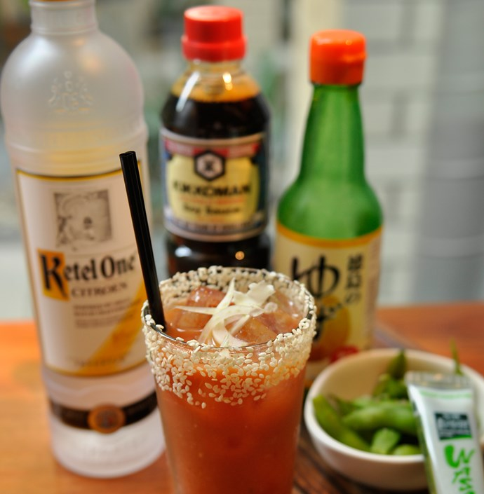 "<p><strong>Bloody Mearii<br> Ben Ward <br> Gerard's Bistro, QLD</strong> <br><br> This visually appealing Asian-inspired Bloody Mary contains Ketel One Citroen vodka, tomato juice, wasabi, soy sauce and yuzu, complete with a sesame seed rum and thinly sliced Kohlrabi. </p> <a href=""http://www.gerardsbistro.com.au""target=""_blank"">www.gerardsbistro.com.au</a>"