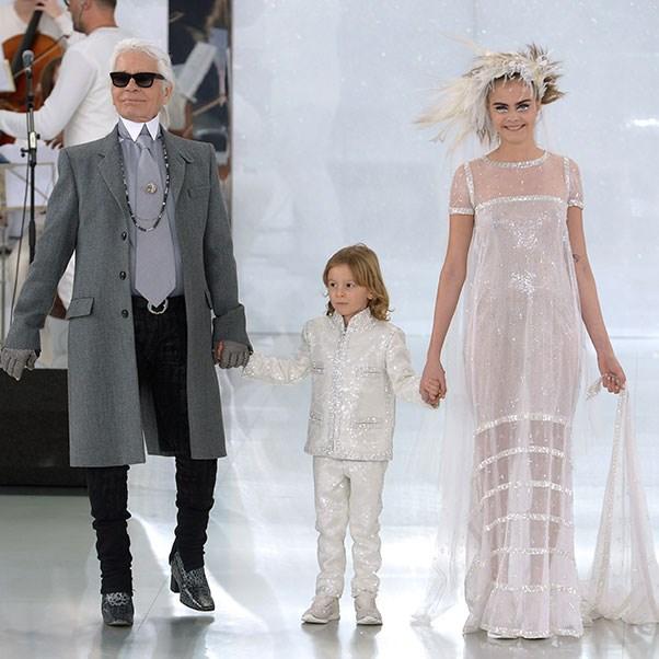 Karl Lagerfeld, Hudson Kroeing and Cara Delevingne