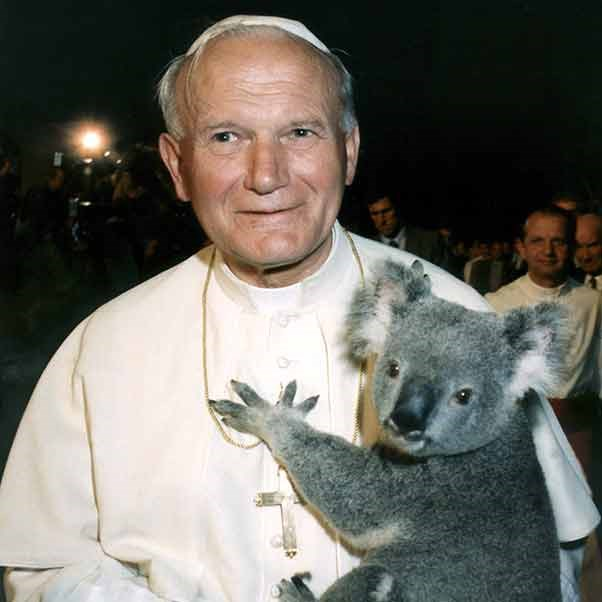 Heavenly father! In 1986 Pope John Paul II blessed this little guy.