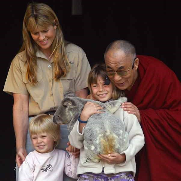 The Pope isn't the only religious leader to pal around with koalas. The Dalai Lama met a little grey bear, and the Irwin family all at once in 2007