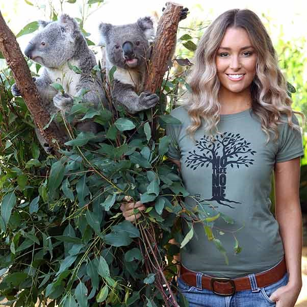 Model and TV presenter Erin McNaught doesn't just want to meet a koala, she wants to save him too. That's why her shirt says 'No tree, no me'.