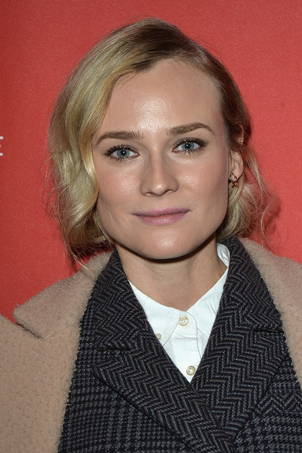 Bare-faced Diane Kruger looked elegant with a soft up-do.
