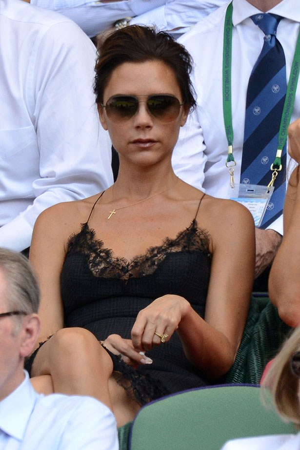 """<p><strong>Victoria Beckham</strong></p> <p>Only someone with the nickname """"Posh"""" would choose to upgrade her original three-carat marquise-cut diamond ring from hubby David Beckham for a jumbo-sized pear-shaped stone set on a diamond-encrusted band.</p>"""