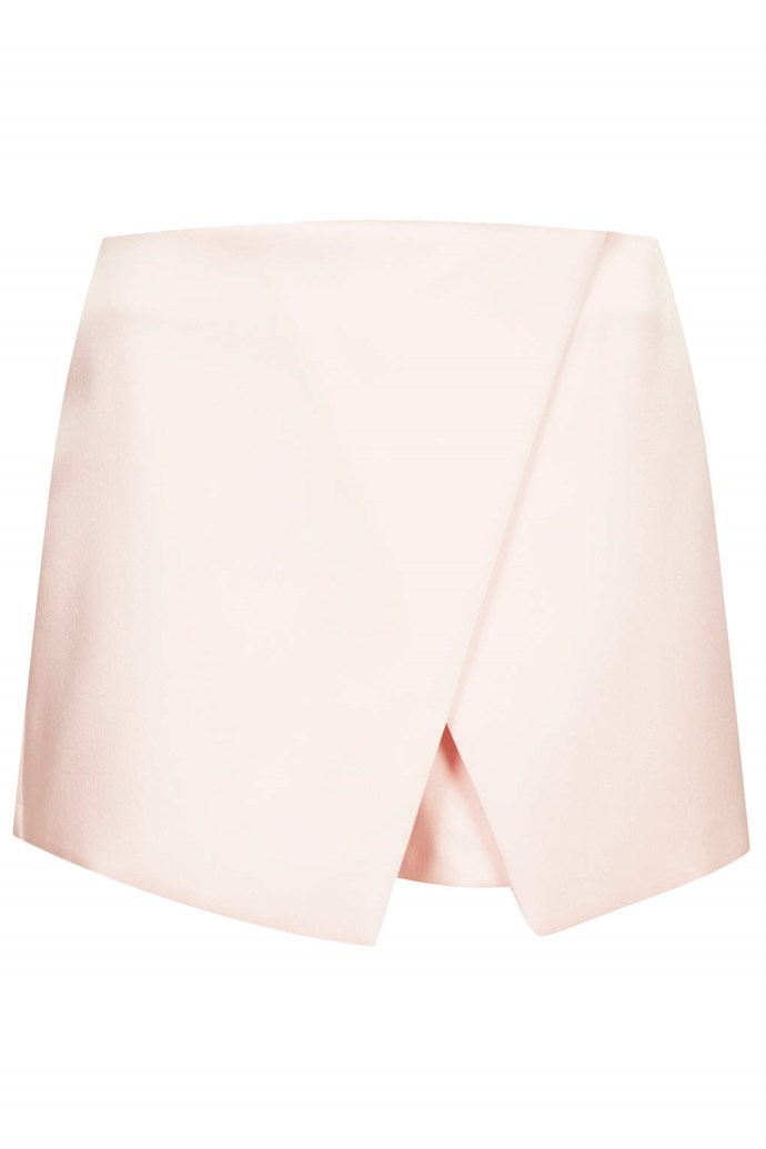 Clean lines keep pastels from looking too frou frou. Skirt, approx $73, Topshop, topshop.com