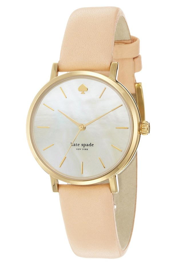 A sherbet strap is a sweet alternative to a rose gold band. Watch, approx $386, Kate Spade, asos.com/au