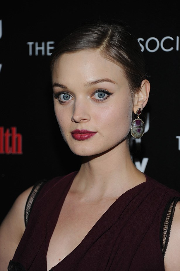 The<em> Killing Them Softly</em> actress wore red wine lips and a soft cats-eye to a film viewing in New York.