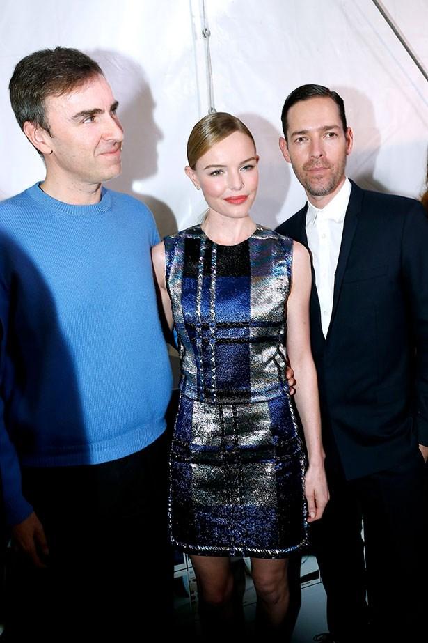 Kate Bosworth with her husband Michael Polish and Dior's Raf Simons