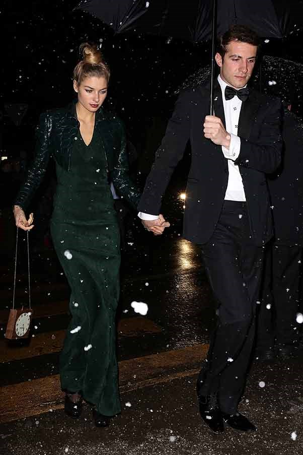 Australian model Jessica Hart attends Tatiana Santo Domingo and Andrea Casiraghi's wedding with boyfriend Stavros Niarchos III