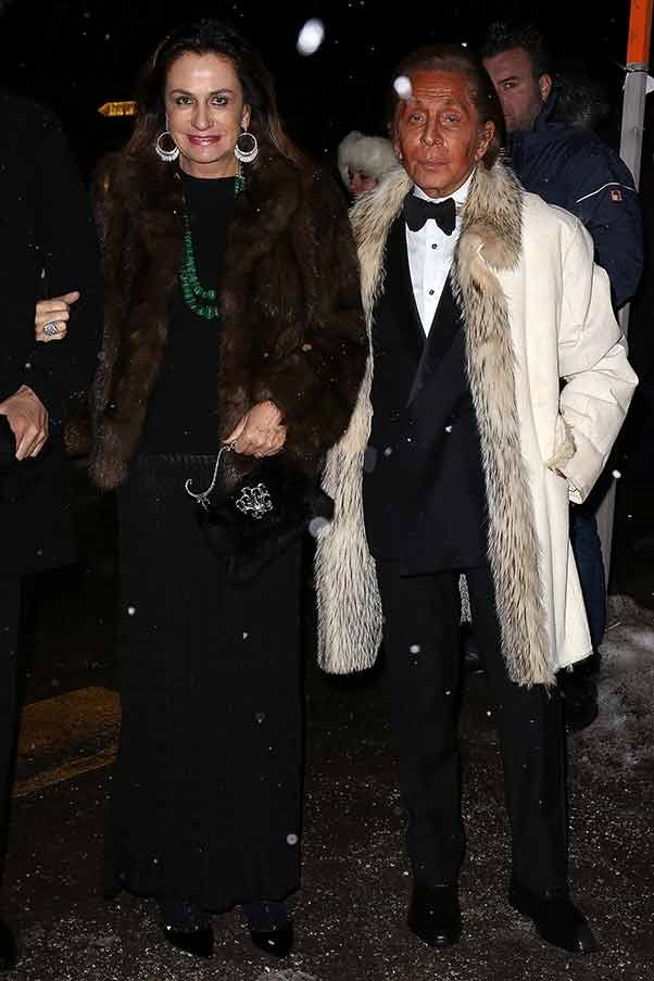 Valentino attends the wedding of Andrea Casiraghi and Tatiana Santo Domingo at the Rougemont church in Gstaad, Switzerland.