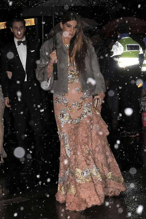 """Italian socialite Bianca Brandolini wears shell pink, embellished gown with a dove grey fur to the wedding of Andrea Casiraghi and Tatiana Santo Domingo.<br><br> <Strong>Related links</strong><br> <br><a href=""""http://www.elle.com.au/news/celebrity-news/2014/1/inside-elle-cover-girl-bambi-northwood-blyths-wedding/"""">Inside ELLE cover girl Bambi Northwood Blythe's wedding</a></br> <br> <a href=""""http://www.elle.com.au/runway/runway-report/2013/8/17-fantasy-wedding-dresses/"""">17 fantasy wedding dresses</a></br> <br> <a href=""""http://www.elle.com.au/fashion/celebrity-style/2014/1/celebrities-who-wore-colored-wedding-dresses/"""">Celebrities who wore coloured wedding dresses</a></br>"""
