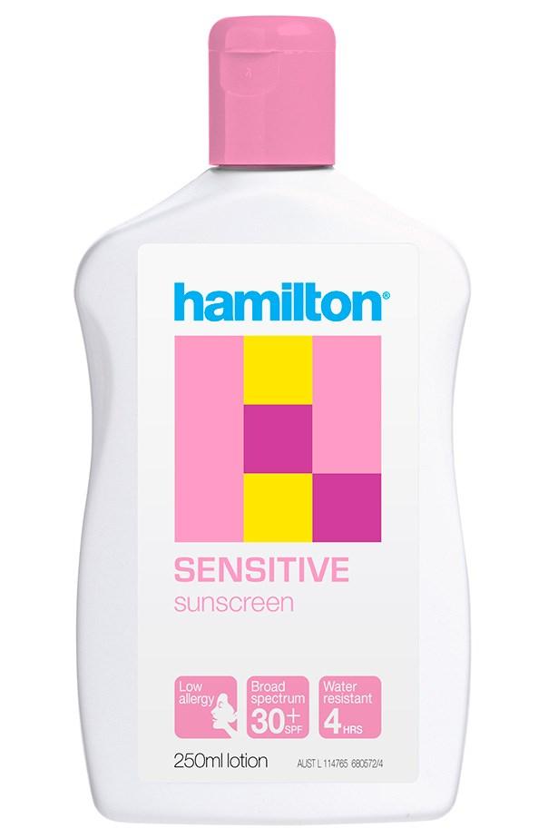 Sensitive SPF 30+ Sunscreen, $14.95, Hamilton, 1800 630 056 Suitable for breakout-prone skin, Hamilton's non-greasy formula won't clog pores.