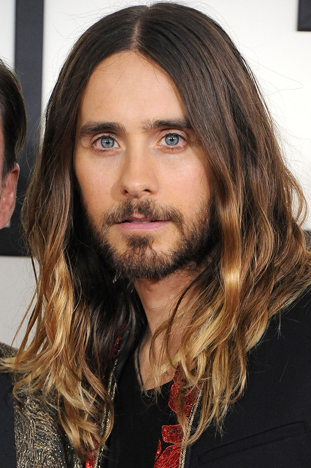 Jared Leto, lead singer of Thirty Seconds to Mars and Oscar nominee, hit the Grammy Awards with glossy ombre tresses.