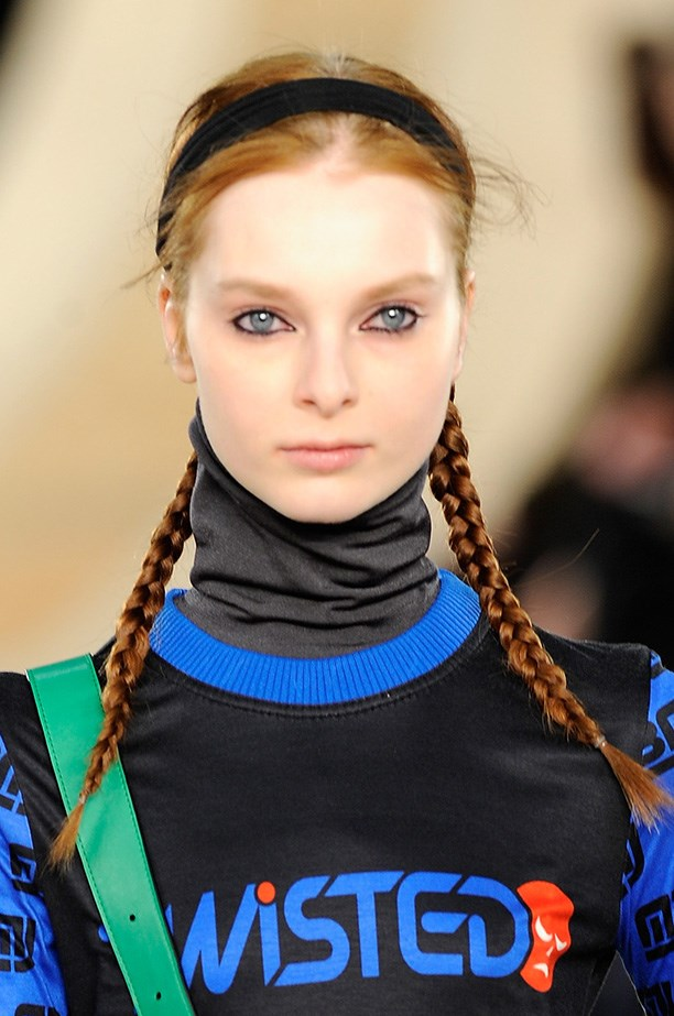 """<strong>Sports luxe hair<BR></strong> At Marc by Marc Jacobs AW14 show, Redken Creative Director Guido found inspiration in Wednesday Addams, """"I'm doing two braids down the back …Think Tim Burton meets Ninja Cartoons."""""""