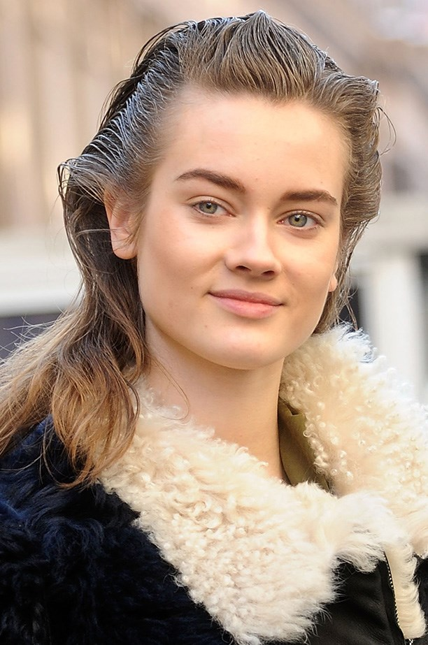 <strong>Sports luxe hair<BR></strong> More proof wet-look  hair is still trending: Paul Hanlon for Morroconoil created the perfect post-workout look at 3.1 Phillip Lim AW14.