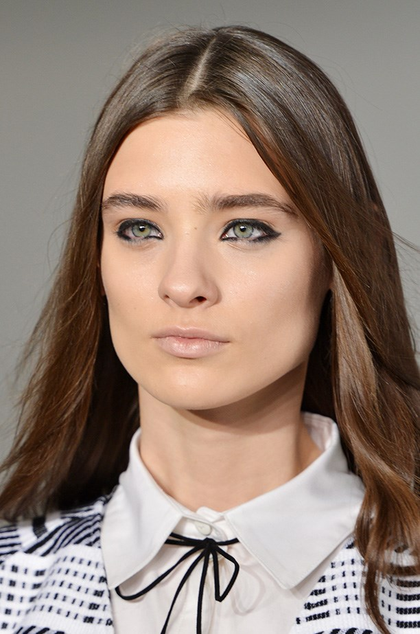 <strong>The new winged liner<BR></strong> The modern shape created by thick black kohl eyeliner at Tanya Taylor came from NARS' international makeup stylist, Uzo.