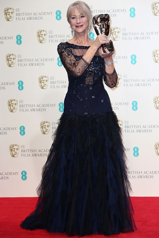 Helen Mirren was presented with the Academy Fellowship Award at the BAFTAs, by none other than Prince William. She dressed exactly like someone about to receive an award from a royal for being fulltime awesome.