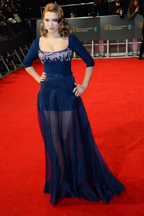 Lea Seydoux pulled on a sequinned Miu Miu dress with a sheer skirt, just in an effort to tempt red carpet caption writers to make a Blue Is The Warmest Colour joke. Although on the night, it was more like Blue Is The Hottest Colour.