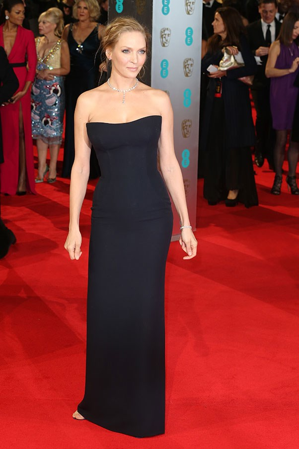 Uma Thurman's Versace column dress in midnight blue showed that sometimes the simplest things really are the best.