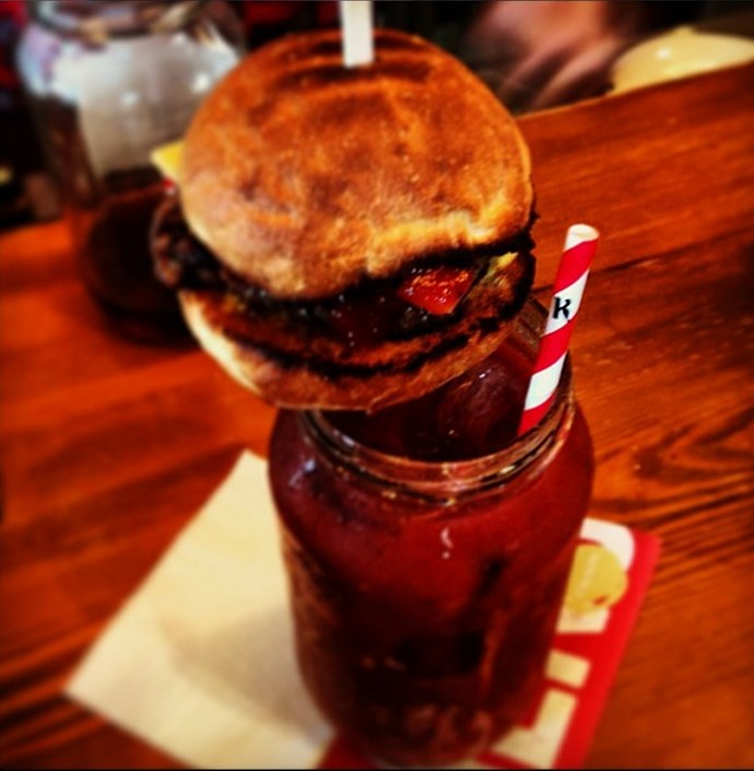 "<p><strong>Epic Ketel One Bloody Mary <br> Dimitri Rtshiladze <br> Mechanics Institute, WA</strong> <br><br> This Bloody Mary comes with a mini burger and a mini frankfurter as the 'garnish'. The burger comes complete with beef patty, cheese, pickled gherkin and tomato relish, and is appropriately named the Epic Ketel One Bloody Mary.</p> <a href=""http://mechanicsinstitutebar.com.au/""target=""_blank"">www.mechanicsinstitutebar.com.au</a>"