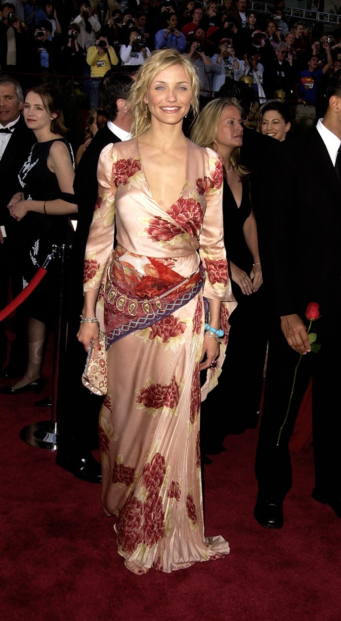<strong>Cameron Diaz, 2002</strong><br></br> Cam's look at the 2002 Oscars wasn't without its controversy, but we give her bonus points for trying something a little daring. Her choice of an Ungaro Couture kimono with a Fred Leighton necklace worn as a belt certainly stood out from the rest of the conservative crowd.