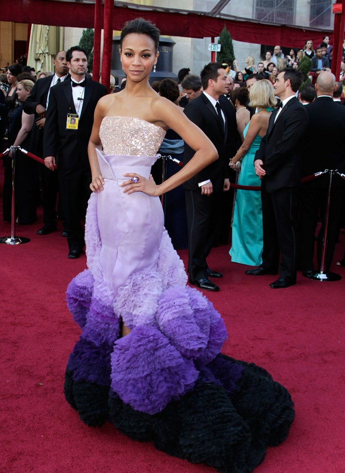 <strong>Zoe Saldana, 2010</strong><br></br> Top marks to Zoe, who has never been one to play it safe with her red-carpet choices. <em>The Avatar</em> actress took a big risk in this elaborately ruffled Givenchy Haute Couture by Riccardo Tisci gown, and it paid off well and truly.