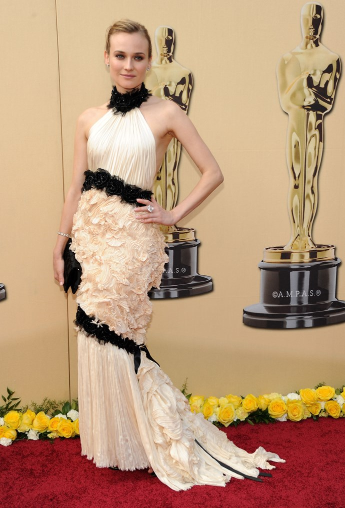 <strong>Diane Kruger, 2010</strong><br></br> We love Diane Kruger for her constant risk taking in the fashion department, and a few years back she did just that with her frilly, backless, black and white Chanel gown. It certainly cemented her status as one of the best boundary pushers in the industry.